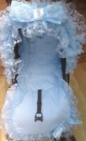 PRAM/PUSHCHAIR BLUE FRILLY BLING BOW HOOD TRIM - UNIVERSAL - STUNNING - ROMANY