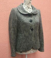 Ladies Black Tweed Jacket UK 12 Blazer White Wool 40 Button Green House Cotton