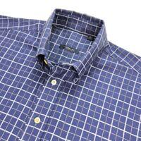 Burberry London Men's Button Collar Dress Shirt Navy Blue Plaid • LARGE