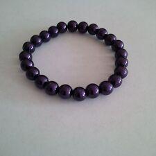 Glass Pearl Jewel Purple  Beaded Strech Bracelet