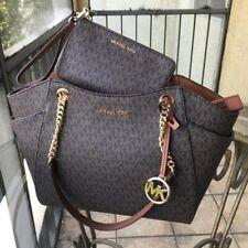 Michael Kors Jet Set Travel Brown Signature Leather Chain Tote Shoulder Bag