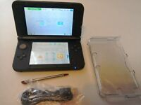 NINTENDO 3DS XL RED WITH CARBON DECAL VINYL WRAP NICE CONDITION