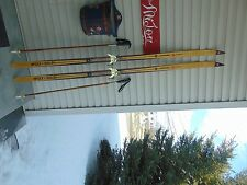 New listing vintage/wooden skis   75   long   with poles  nice        # 4194