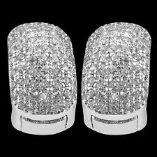 Huggie Earrings  BLING 14mm White Gold Filled Crystal Diamond Earring Men Women