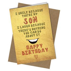 BIRTHDAY CARD Funny Cheeky Rude to Son #979