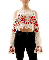 For Love & Lemons Women's Flower Embroidered Isabella Blouse Top  Size L BCF71