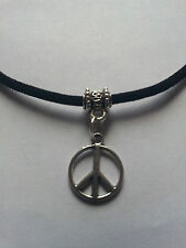 """PEACE SIGN PENDANT CHARM ON BLACK LEATHER 3MM VELVET CORD  17""""  NECKLACE."""