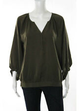 Lilla P Brown Long Sleeve V-Neck Blouse Size Large New