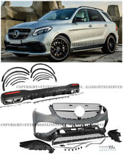 AMG Front Bumper Rear Diffuser Muffler Tips Side Fender For 16-Up GLE SUV W166