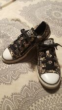 Converse All Star Kids Size 2 - Black Lace Print with Pink Glitter Accents