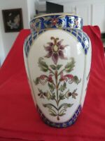 Zsolnay Beautiful Large Hand Painted Porcelain Floral Vase Trimmed with 24K Gold