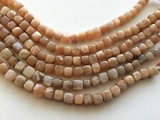 "ORANGE MOONSTONE 8MM FACETED CUBE BEADS, 8"" LONG"