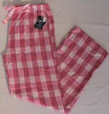 NEW Womens Thin Flannel Pajama Pants Medium Pink Plaid Lounge Sleep Pjs Comfort