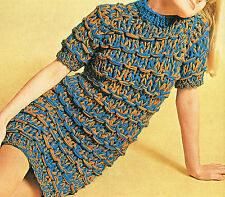 60s Knitting Pattern: CHUNKY KNIT MINI DRESS-Womens Clothes Pattern/ 171028