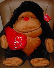 BLACK/BROWN GIANT APE * BIG EYES * HOLDING RED HEART * CUTE *21 INCH **