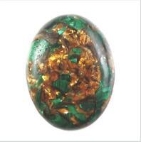1Pcs 40x30mm  Malachite & Gold Copper Bornite Stone Oval Cab Cabochon F-kmg