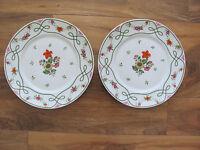 Ceralene Guirlandes Limoges France-Floral Green Line on White- 2 Dinner Plates