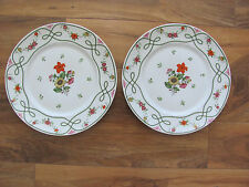 Ceralene Guirlandes Limoges France-Floral Green Line on White- 2 Dinner Plates