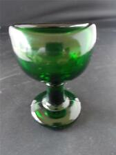 "Vtg Antique Bristol Green Glass Eye Bath round pedestal ""W"" mark Made in England"