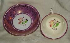 c1840 Purple Lustre SPRIG Sprigware Cup & Saucer Staffordshire