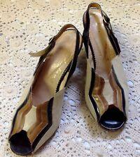 Renata Vintage, Cuban Heel Leather, Sling Back, Peep Toe Shoes, Italy, Size 5
