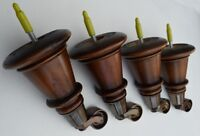 Set of 4 Sofa / Chair Solid Wood Feet / Legs. Antique Finish. Choice of Castors
