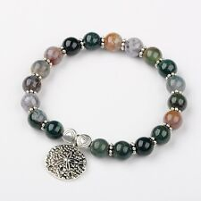 Indian Agate Beads Stretch Bracelet with Tibetan Style Alloy Beads(BJEW-JN01374)