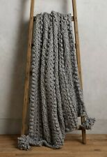 NWT Anthropologie Hand-Knit Sweater Throw Blanket Wool Gray