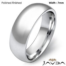 Platinum 7mm Men Plain Comfort Dome Wedding Band High Polish Ring 17.8g 11-11.75