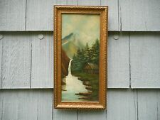Antique Framed Folk Art Naive Oil on Academy Board Painting of Bridal Falls
