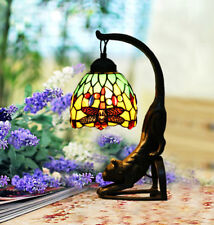 Makenier Vintage Tiffany Style Stained Glass Green Dragonfly Cat Table Lamp