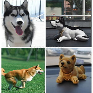 Dog Swing Head Shiba Husky Nodding Moving Bobble Car Home Decor Puppy Cute Toy