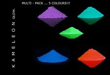 100G (MULTI-PACK X 5) Glow in the Dark Pigment Powder for Arts and Crafts Etc