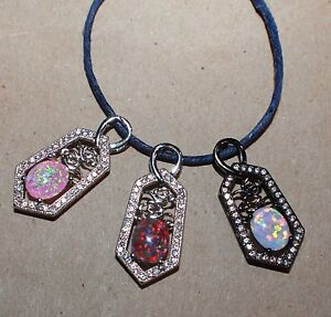 fire opal Cz necklace pendant gemstone black gold filled jewelry classic Rose