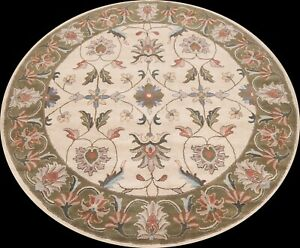 Floral Ivory Traditional Oriental Area Rug Hand-Tufted Wool Carpet 10x10 ROUND