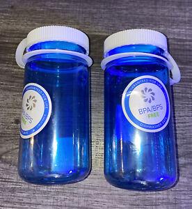 2X NALGENE Mini Grip Water Bottle 12oz BLUE w/ White Cap BPA Free Wide Mouth NEW