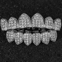 18K White Gold Plated Custom Slugs NB Top Bottom GRILLZ Teeth Mouth Grills Set