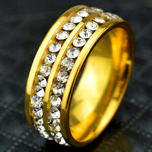 Big Deluxe Full Crystal Gold Band Ring Jewelry for Womens Mens Wide Rings 8mm