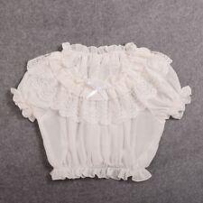 1pc Women Puff Sleeve Frilly Blouse Chiffon Lolita Lace Top Short Sleeve Shirt