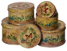 Set 5 Biscuit Cake Tins Kitchen Storage Vintage Style Butterflies Country Garden