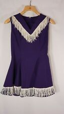 Vintage 1960's Cheerleader Outfit Dress Fringe Purple cotton Small Handmade!