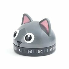 Kikkerland Kitchen Timer, Cat, Gray Chef Tool Precision Count Down Ticker Cute