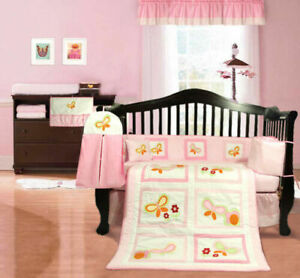 NEW pink baby girl's cotbed / cot bumper (nursery bedding) with butterflies
