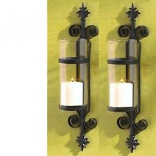 2 Tuscan Sconce Black Hurricane Candle Holder Wall Decor