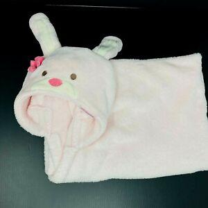 Carters Baby Blanket Pink Hooded Bunny Rabbit Hood Plush Fleece Flower Lovey
