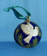 Cloisonne 2000 Christmas Ornament Blue w Leaves and Dove