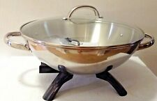 PRESTO 1500W Stainless Steel Electric Wok Glass Lid Skillet Cooking Pan 17x14 in