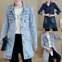 Plus Size Fashion Women Vintage Casual Denim Buttons Lapel Jeans Jacket Cardigan