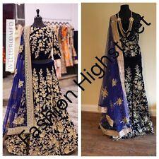 UK -Indian Pakistani Bollywood designer Bridal Navy Blue Lengha, Chanya Choli.