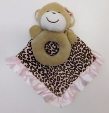 Carter's Pink Brown Leopard Monkey Ring Rattle Security Blanket Plush Lovey Toy